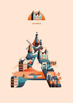 The Wanderlust Alphabet beautifully brings together Travel, Typography & Illustration - Digital Arts