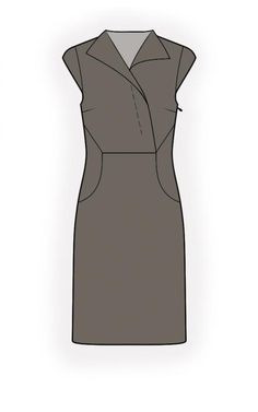 Dress With Decorative Buttonstand - Patrons de couture #4442. Made-to-measure sewing pattern from Lekala with free online download.