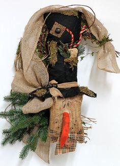 """24"""" Top Hat Primitive Snowman Wreath by FloralsFromHome, $112.00"""