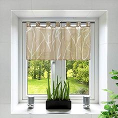 Yujiao Mao Voile Sheer Window Valance Branch Pattern Half Window Curtain Tab Top Cafe Curtain for Kitchen Bathroom Living Room,1pc (Sand,W47 x L23 inch) Half Window Curtains, Tab Curtains, Kitchen Curtains, Window Valances, Top Cafe, Living Spaces, Living Room, Interior Decorating, Interior Design