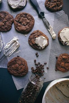 spicy double chocolate cookies with cappuccino frosting | vegetarian ventures