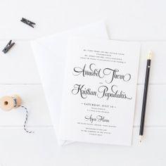 Black And White Modern Script Wedding Invitation, Professionally Printed, Peach Perfect Australia