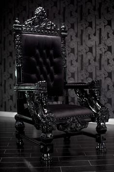BESPELLED: Tales of a Vampire Hunter 3 - Black Lacquer Baroque Throne Chair - Hellfire Club - Black King's chair.