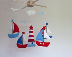 Baby Mobile whale and sailboat baby crib mobile by lovelyfriend