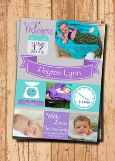 PDF by KADdesignsforlove Baby Girl Birth Announcement, Baby Announcement Cards, Nautical Birthday Invitations, Party Invitations, Welcome June, Etsy App, Teal, Purple, Baby Milestones