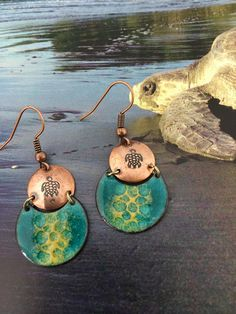 Enamel Jewelry/Enamel earrings/Copper enamel Jewelry/Nature