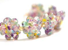 Handmade Glass Lampwork Bead Set Purple Pink by susansheehan, $24.00