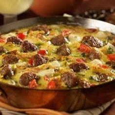 Low Carb Recipes Asiago, Sausage Egg Skillet - (Free Recipe below) - Asian Beef with Mushrooms Sausage And Egg, How To Cook Sausage, Turkey Sausage, Cheese Sausage, Turkey Meatballs, Breakfast Dishes, Breakfast Recipes, Breakfast Frittata, Breakfast Ideas