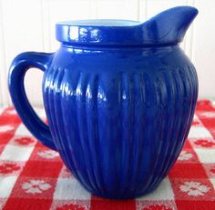 Hazel Atlas 1950s Vintage Milk Creamer Pitcher Fired On Cobalt Blue Glassware