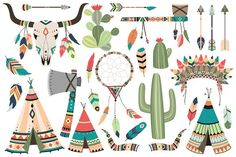 Tribal Clip Art Vector & PNG Set by Kenna Sato Designs on @creativemarket