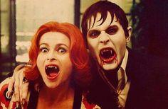Funny shot with Johnny Depp and Helena Bonham Carter on the set of DARK SHADOWS.