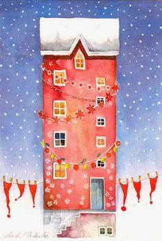 Anita Polkutie Family Christmas Cards, Christmas Clipart, Plaid Christmas, Christmas Pictures, Christmas And New Year, Xmas, Dream Illustration, Winter Illustration, Christmas Illustration