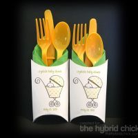 Cute idea! Might be a ridiculous amount of work though...tan plastic ware and purple napkins