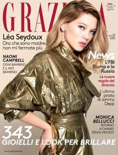 Actress Lea Seydoux graces the May 2017 cover of Grazia Italy. Captured by Tiago Banderaa, the blonde beauty poses in a metallic gold jacket from Kenzo… V Magazine, Grazia Magazine, Vogue Magazine Covers, Fashion Magazine Cover, Glamour Magazine, People Magazine, Italy Magazine, Cosmopolitan, Vanity Fair