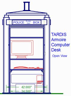 Armoire Computer Desk designed after the TARDIS, front view with doors open
