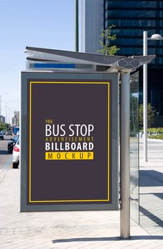 Free Bus Stop Advertisement Billboard PSD Mockup - Free Mockup Zone Billboard Mockup, Billboard Design, Bus Stop Advertising, Hoarding Design, Bus Shelters, Sports Graphic Design, Mockup Templates, The Help, Mockup Photoshop