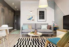 Um conceito de apartamento pequeno perfeito para um jovem casal - limaonagua