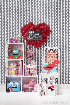 How can you bring some extra happy to a homeroom heart day party? With a cutie pie collection of handmade decorations, favors and Valentine boxes.