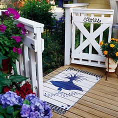 Enjoy the outdoors on a well-appointed deck. These 14 ideas will add style, function, and comfort to any deck. Porch Gate, Deck Gate, Porch Entry, Back Deck Designs, Outdoor Deck Decorating, Outdoor Decor, Front Deck, Front Porch, Up House