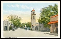 old postcard (20s) Ojai Ave at Signal