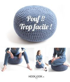 DIY : je vous propose le tuto d'un pouf crocheté trop facile à réaliser ! Pour obtenir cet effet jean couleur denim j'ai utilisé 2 g...