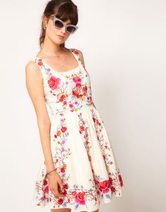 from ASOS - Skater Dress in Floral Embroidery -  light and happy - via us.asos.com