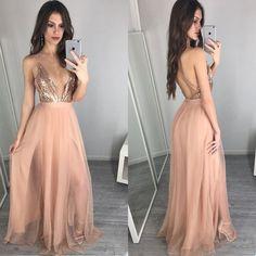 b7fa6cc66 Hot Sale Deep V-Neck Sexy Backless A-line Unique Sparkly Beauty Prom Dress  Long. PB1026