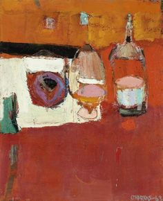 Raimonds Staprans (Latvian/American, b. 1926), Still Life with Three Bottles, 1963. Oil on canvas, 86.4 x 71.1 cm