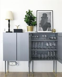 How to transform ivar cabinet from IKEA to luxurious and modern home styling. Grey Bedroom Furniture, Bedroom Furniture Makeover, Sideboard Furniture, Retro Furniture, Ikea Furniture, Furniture Design, Gray Bedroom, Furniture Storage, White Furniture