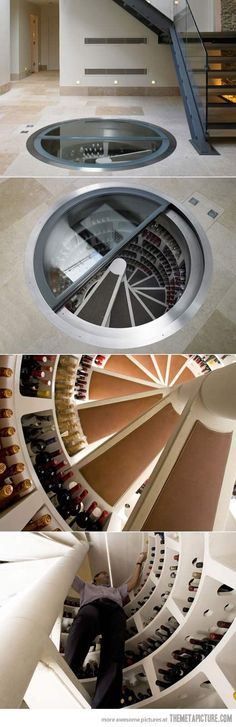 This is a very clever way to to create a unique storage space. We like how the wine 'cellar' is still under ground level giving it a modern twist to a traditional cellar.  Spiral Wine Cellar #WineCellar #wineglasswriter