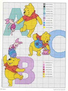 Schema punto croce Winnie a b c
