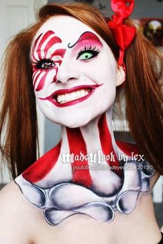 Creepy clown halloween makeup face painting FOR Ariel Maquillage Halloween Clown, Gruseliger Clown, Halloween Makeup Clown, Clown Faces, Halloween Looks, Halloween Kostüm, Clown Costumes, Circus Clown, Halloween Costumes