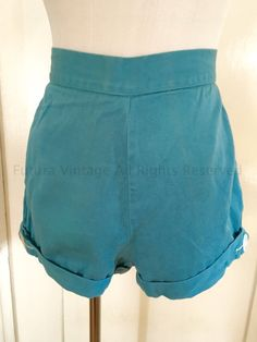 1950s Classic High Waist QUEEN CASUALS Turquoise Blue Sanforized Cotton Shorts with Button Detail and Back Pocket-XS S by FuturaVintage on Etsy