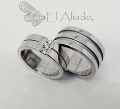 816. Argollas de matrimonio en acero y diamantes   Flickr: Intercambio de fotos