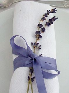Napkin decorated with Lavender