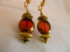 Red Czech Glass Dangle Earrings by StudioCKH on Etsy, $18.00