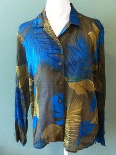 5d0fdd586b5 Liz Claiborne Green Hawaiian Tropical Sheer Button Down Blouse Shirt Size  XL  LizClaiborne  ButtonDownShirt