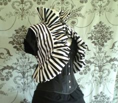 Image of Striped Ruffle Steampunk Pirate Vest Jacket