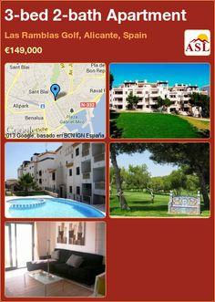 3-bed 2-bath Apartment in Las Ramblas Golf, Alicante, Spain ►€149,000 #PropertyForSaleInSpain
