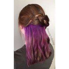 Orchid underlights This is such a fun way for people with conservative jobs to sneak in fashion colors. When her hair is down, you just see peeks of the color and she can totally twist it up and hide it for work.