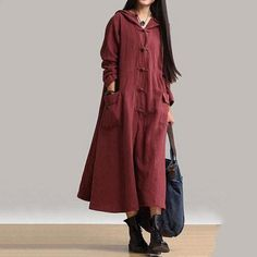 18a9ae07aca New Women Vintage Frog Button Long Sleeve Hooded Long Maxi Dress