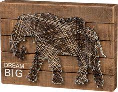 Dream Big - Elephant String Art Plank Board Box Sign - 11-in