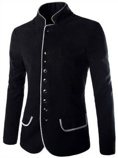 Single Breasted Color Block Edging Stand Collar Long Sleeve Slimming Modish Woolen Blend Blazer For Men