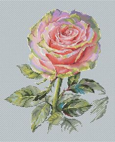 Rose Cross Stitch Pattern PDF Instant Download Art Cross Stitch Flower Cross Stitch Pink Cross Stitc