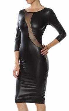 #Mesh Knee Length #Leather #Dress