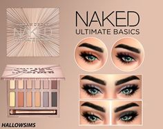 "hallowsims: "" Urban Decay Naked Ultimate Basics +Eyes (Bonus) - For Females; - 12 Swatches. - Teen/Young Adult/Adult/Elder; - Custom thumbnail; - Smooth texture;2048&4096 available for HQ ****For best results use it with this eyeliner *click* or this..."