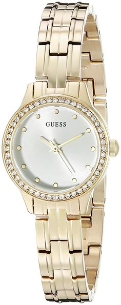 6c4ca9f6c2c5 GUESS DressStainless SteelGoldToneCrystal Accented WR    Read more at the  image link. Guess WatchesAdjustable BraceletFeminineWomen s