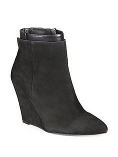 Vince Ludlow Suede & Leather Wedge Ankle Boots