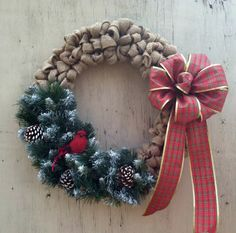 Winter Wreath Christmas Cardinal Decor by CountryCraftsnflower