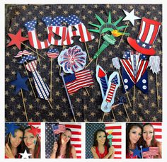 21 patriotic USA photo booth props - perfect for your American party, 4th of July celebration, memorial day weekend or Citizenship party